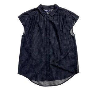Madewell Tops - Madewell Black Silk Velvet Dot Button-Down